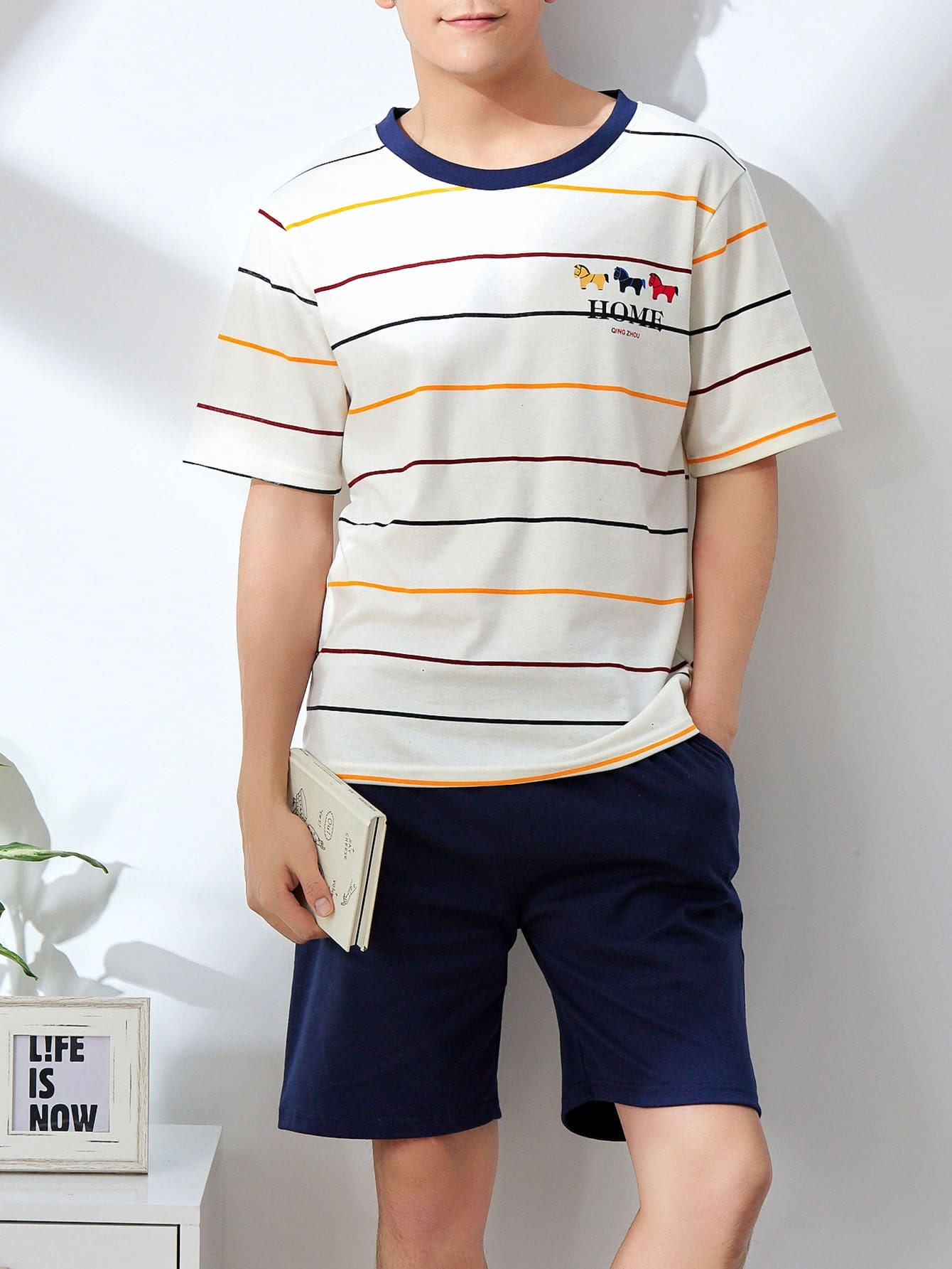Men Horse Print Striped Pajama Set