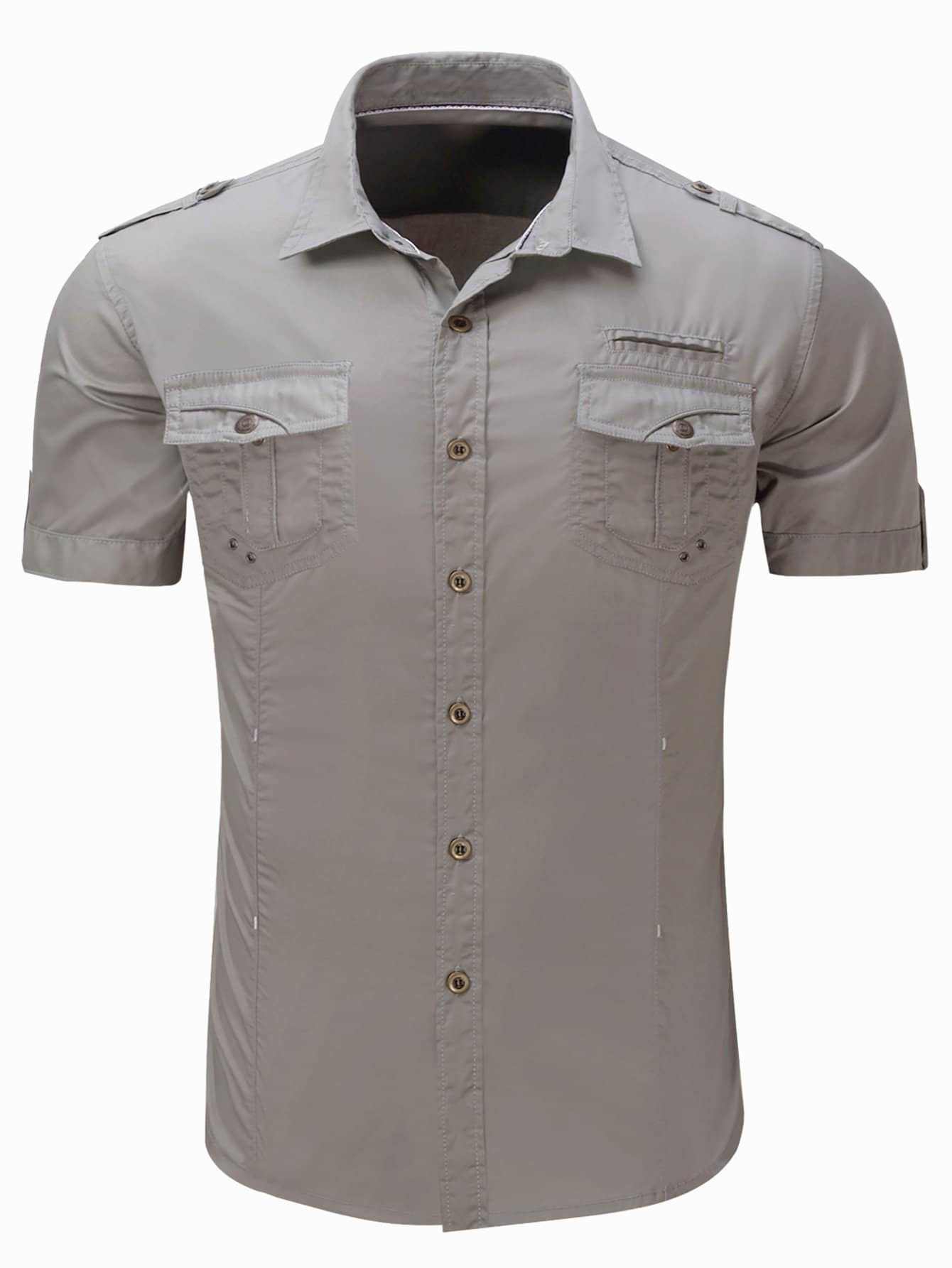 Купить Мужская карманная деталь Твердая рубашка, null, SheIn