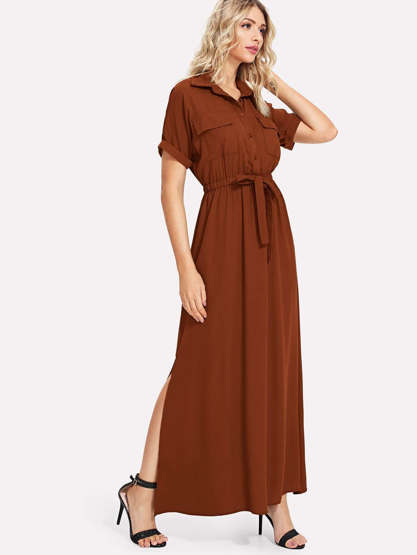 Split Hem Shirt Dress solid split hem cami dress