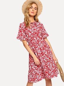 Tie Neck Calico Print Dress