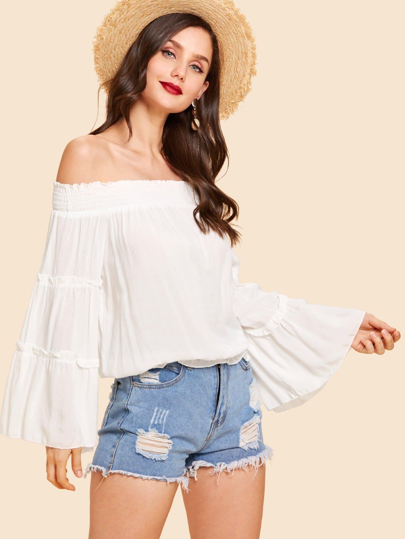 Купить Повседневный Одноцветный Оборка Белый Блузы+рубашки, Julie H., SheIn