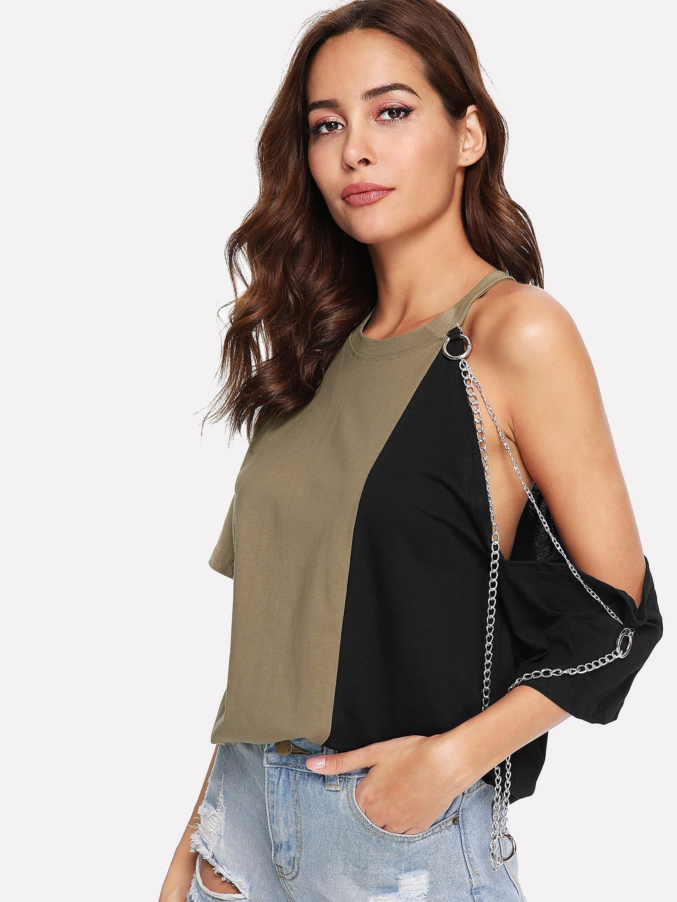 Cut Out Sleeve Chain Detail Tee bow detail cut out back tee
