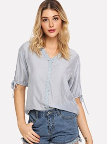 Lace Trim Drawstring Cuff Blouse