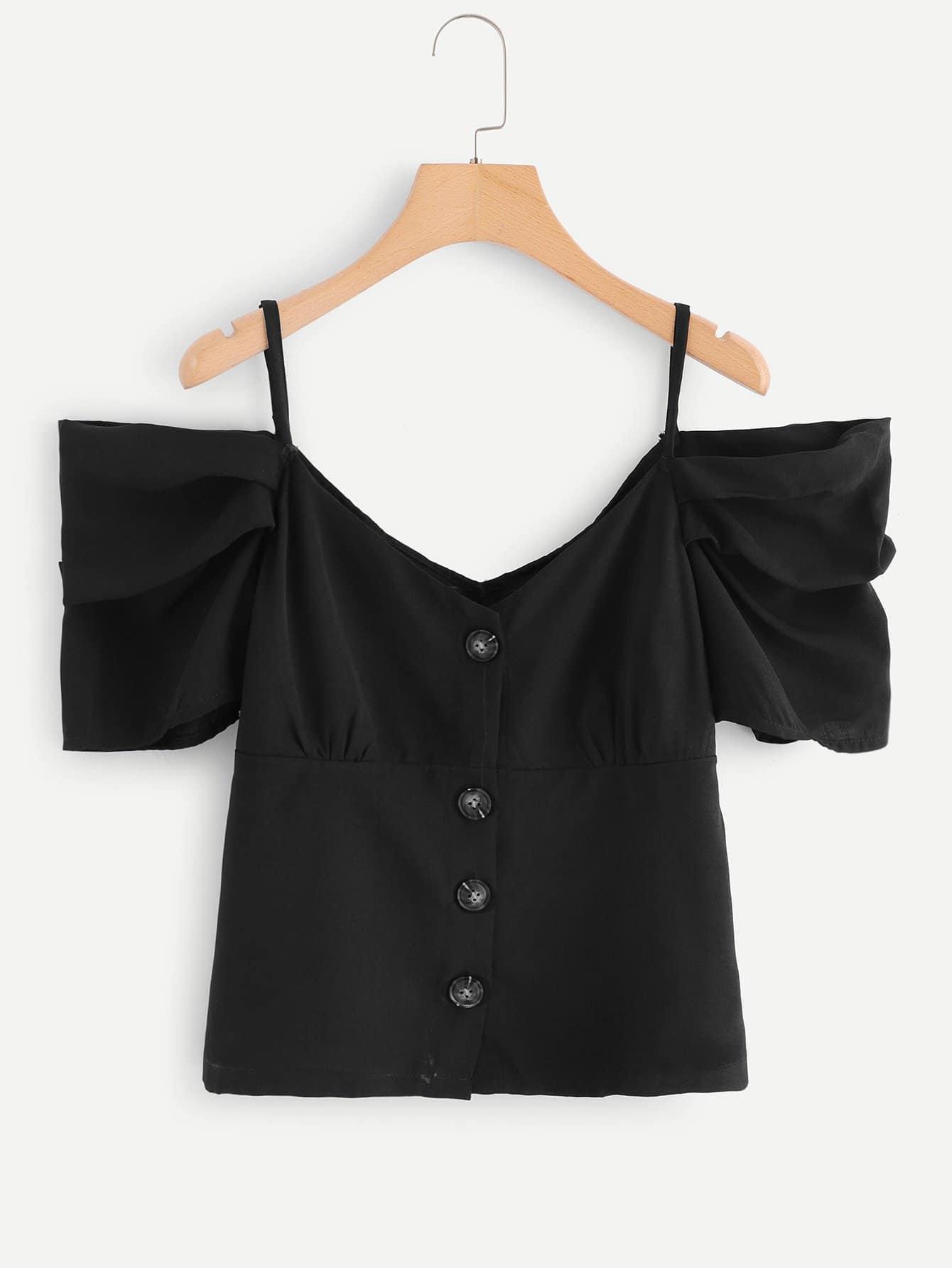 Повседневный Одноцветный Пуговица Черный Блузы+рубашки, null, SheIn  - купить со скидкой