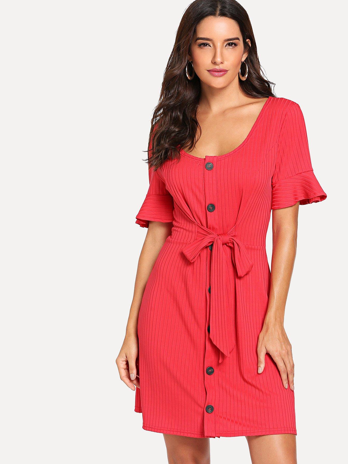 Купить Однобортное платье с украшением бантом перед одежды, Juliana, SheIn