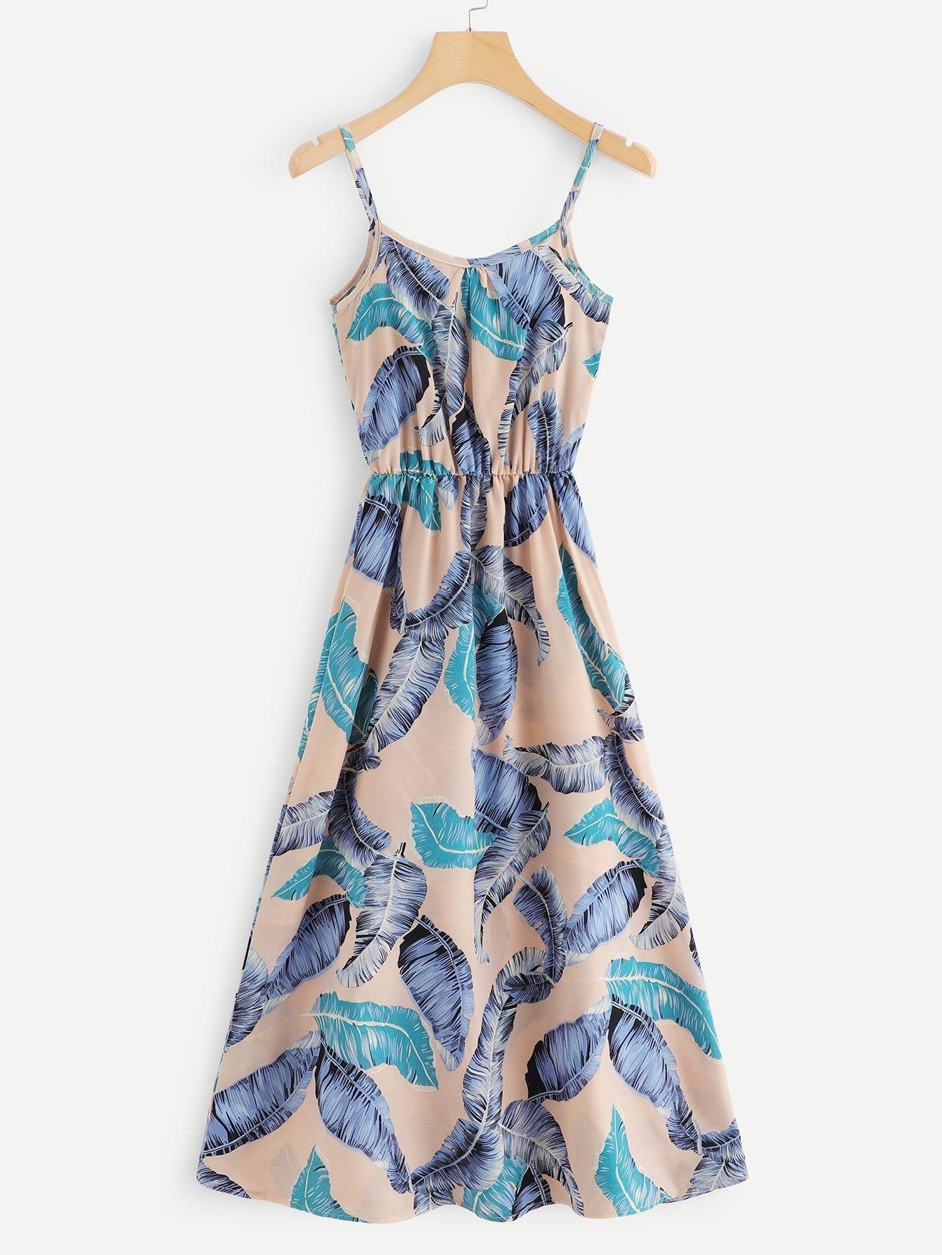 Купить Платье на бретелях и с рисунками перьев, null, SheIn