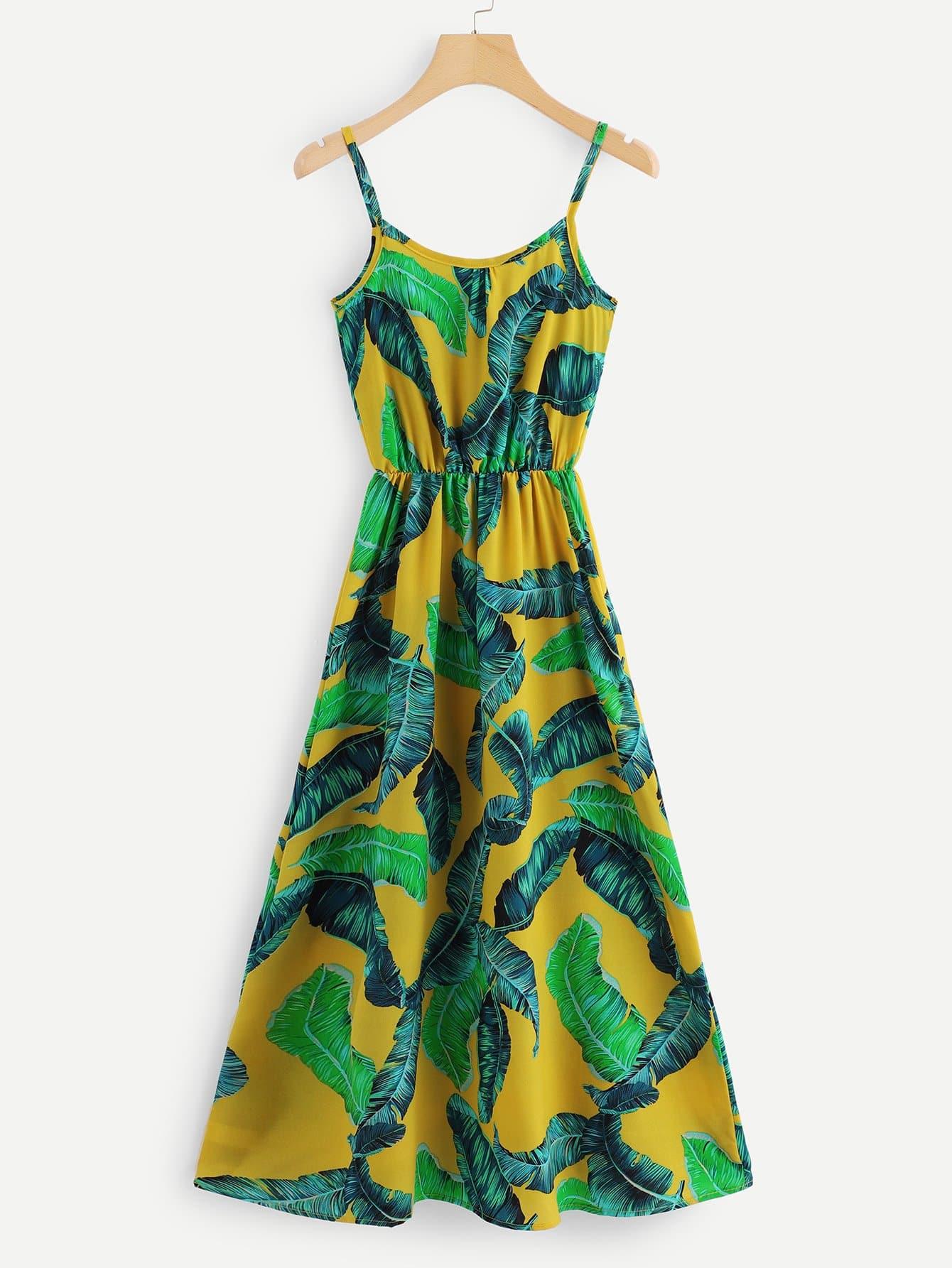 Купить Платье на бретелях и с рисунками тропических листьев, null, SheIn