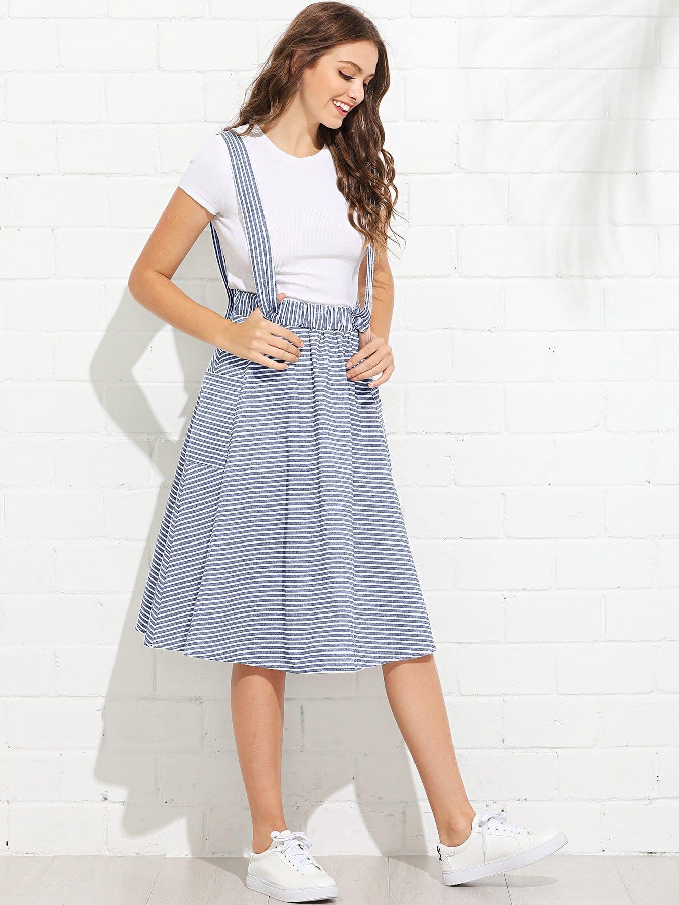 Купить Полосатая юбка и с украшением карманов по обе стороны, Luiza, SheIn