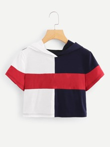 Color Block Hooded Crop Tee