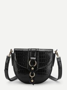Crocodile Pattern Saddle Bag