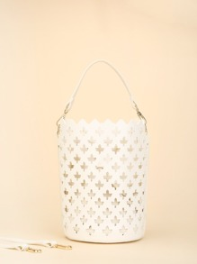 Laser Cut Bucket Bag With Inner Pouch