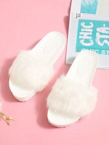Faux Fur Flatform Sliders