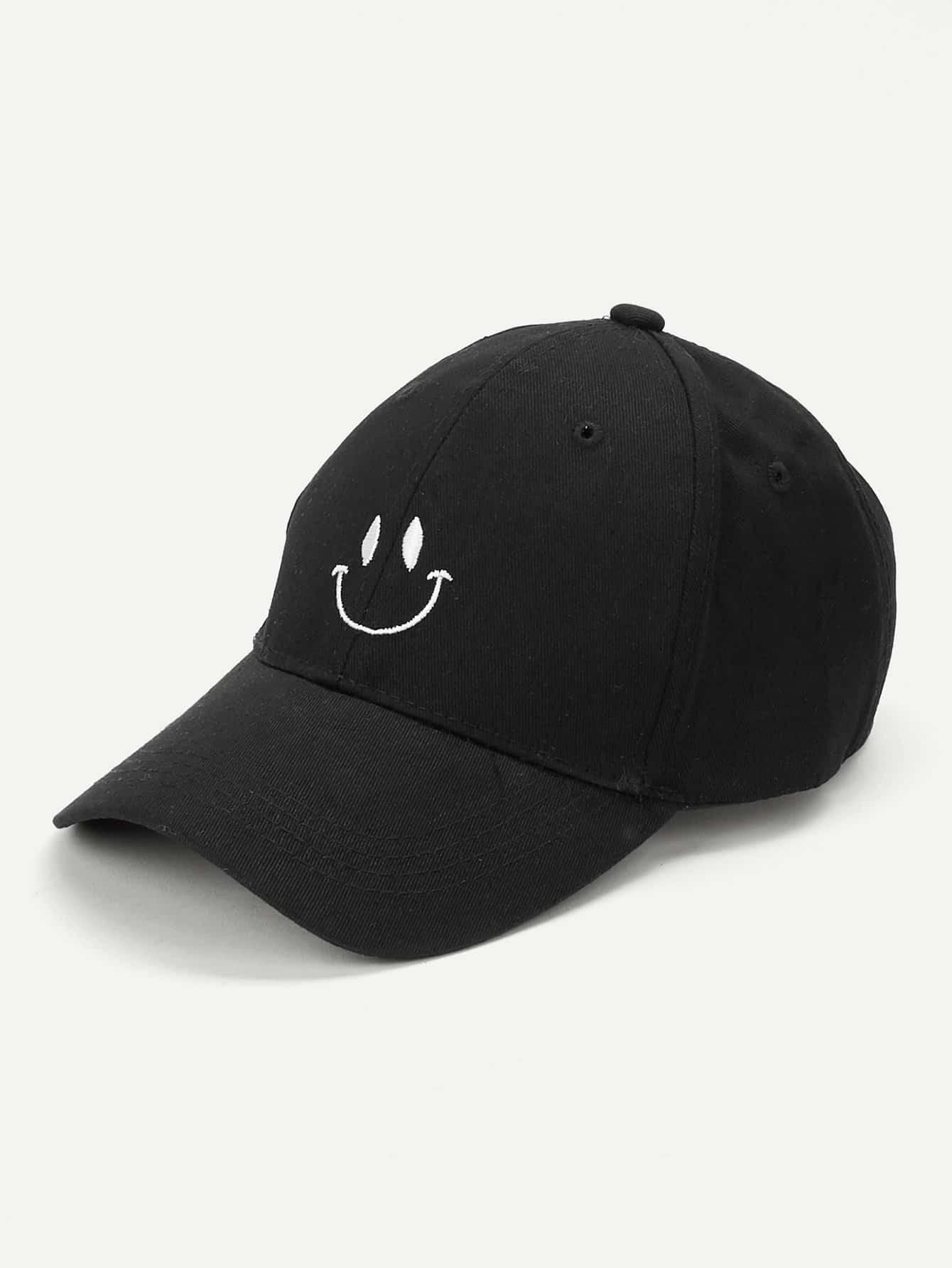 Купить Бейсболка с украшением улыбки вышивки, null, SheIn