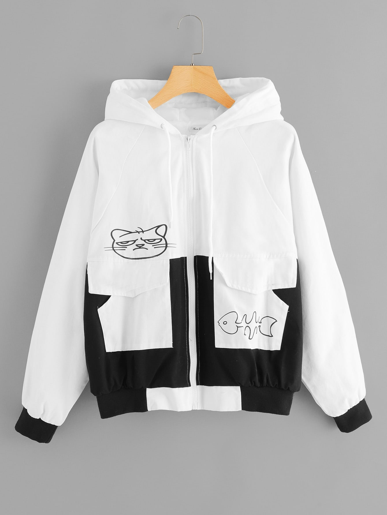 Cartoon Print Zip Front Hoodie Jacket