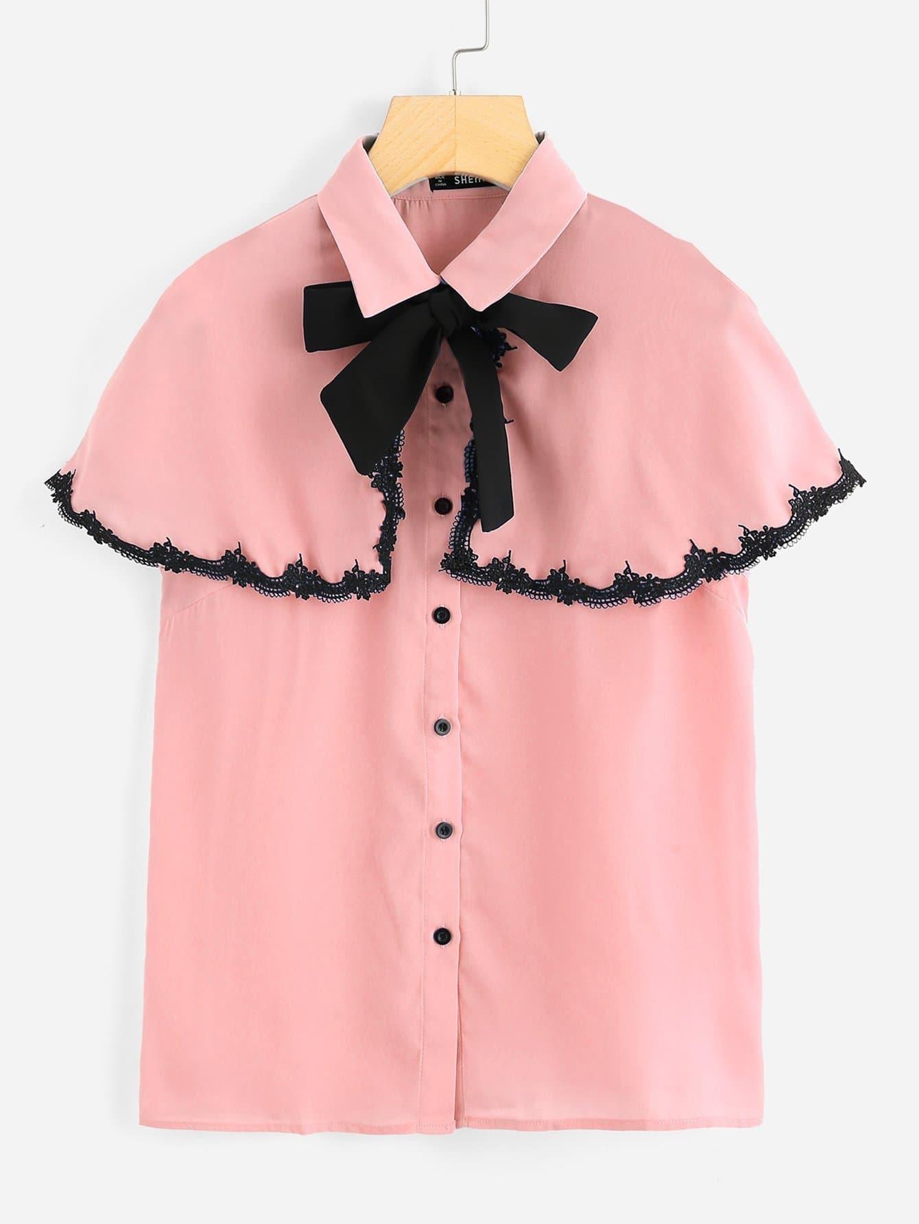 Tie Neck Lace Detail Cape Sleeve Blouse tie neck lace detail cape sleeve blouse