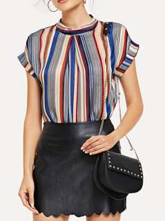 Fold Pleat Front Striped Top