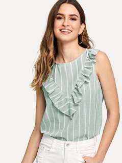 Ruffle Detail Striped Shell Top