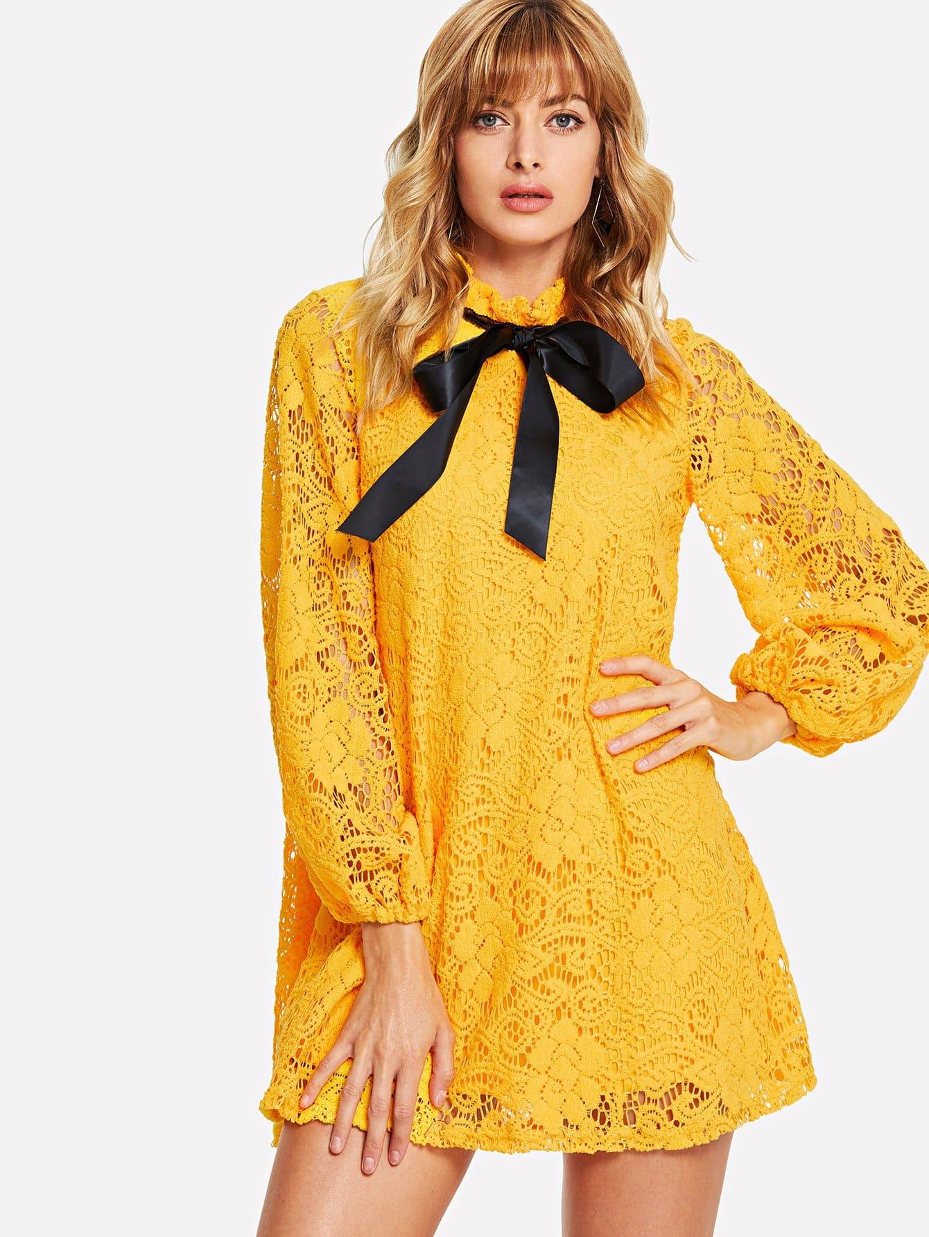 Купить Фонарь втулки цветок кружево наложение Ruffle связали платье шеи, Masha, SheIn