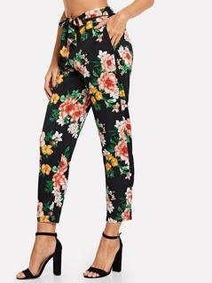 Belted Floral Pants