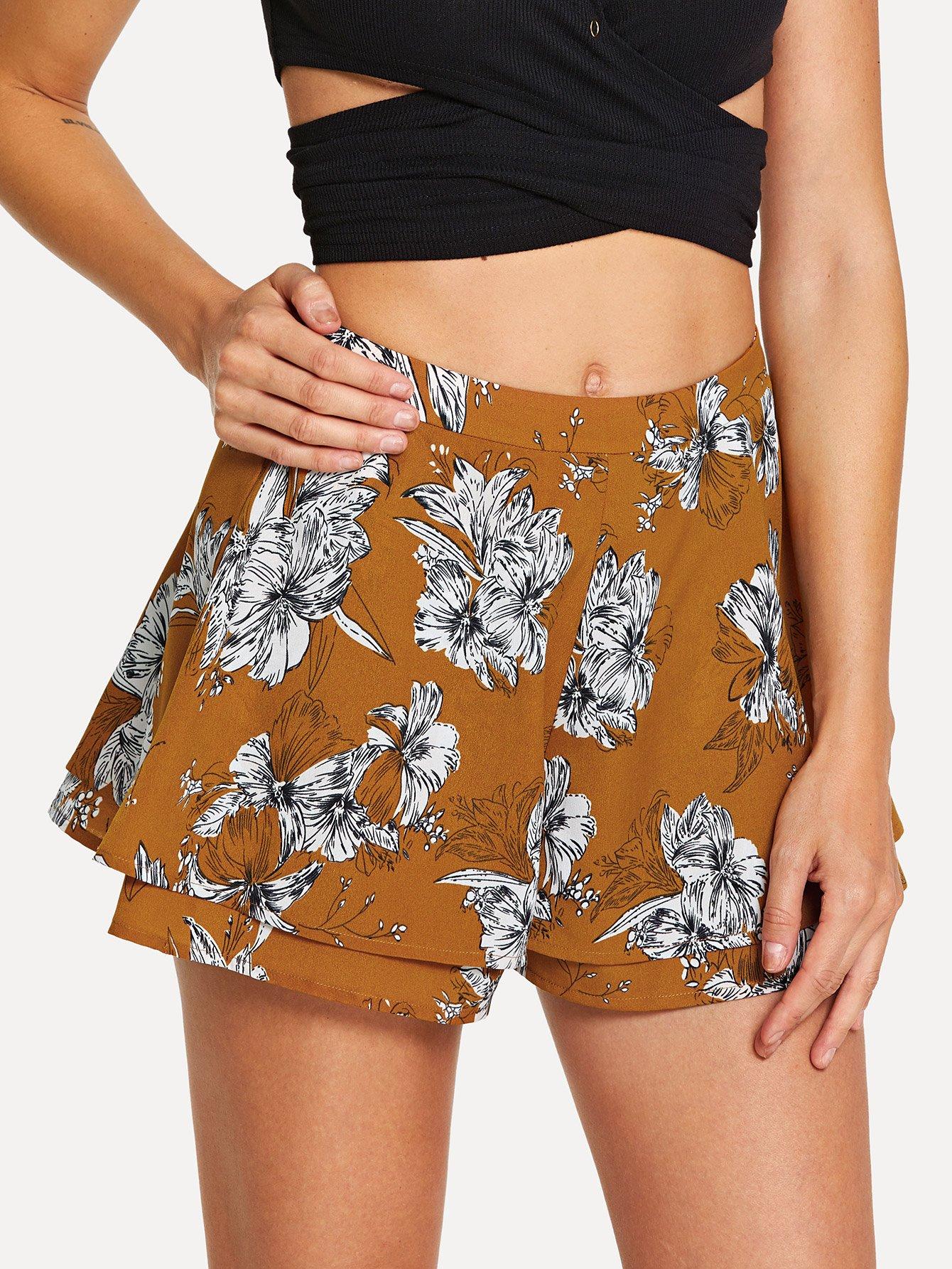 Купить Цветочные шорты с двойным слоем, Masha, SheIn