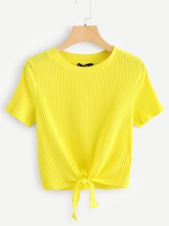 Neon Yellow Knot Front Solid Ribbed Tee