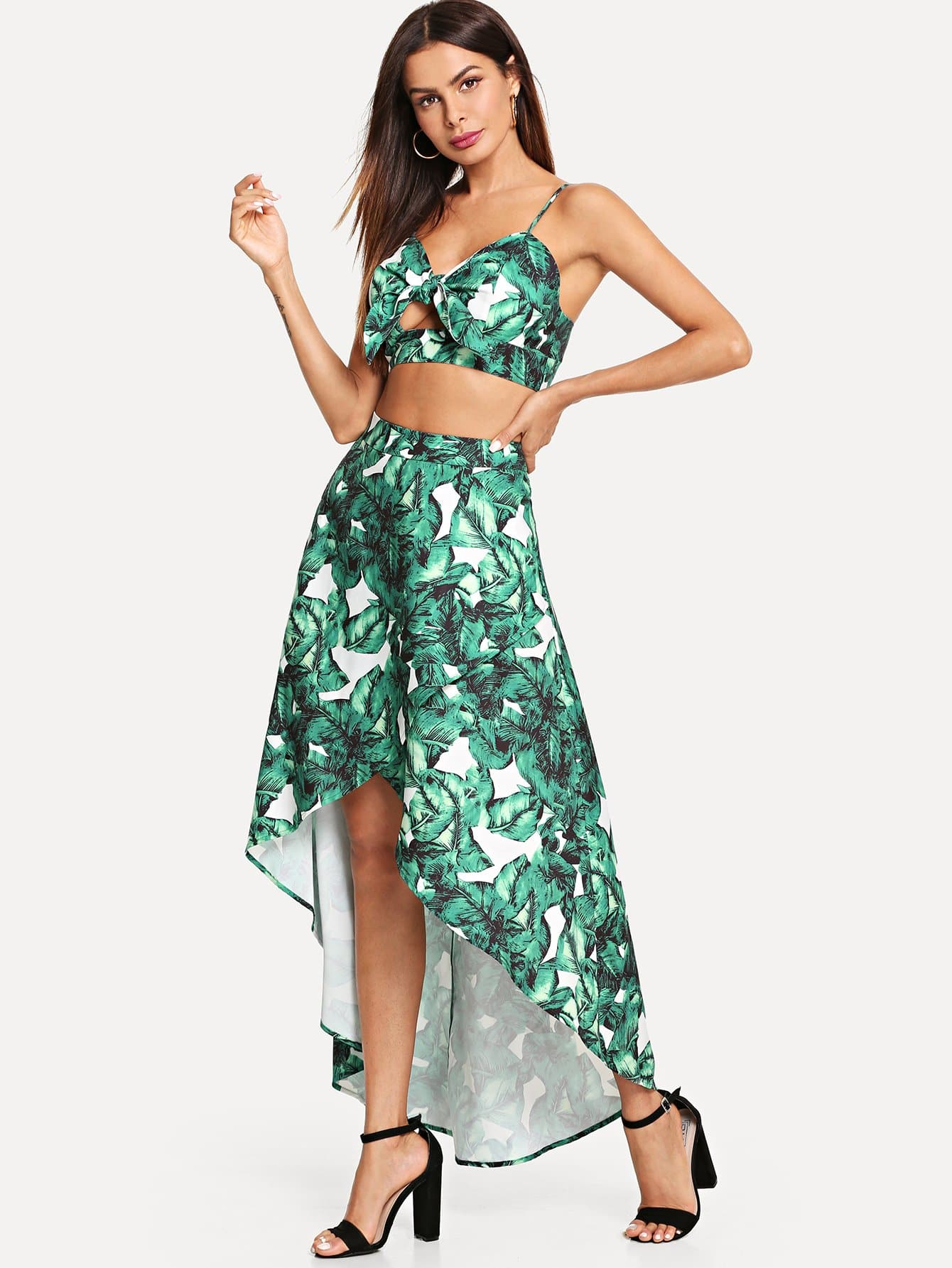 Tropical Crop Cami Top & Wrap Skirt Co-Ord