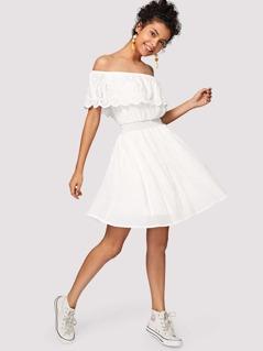 Eyelet Embroidered Shirred Waist Flounce Bardot Dress
