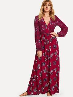 Plunging Neck Bishop Floral Dress