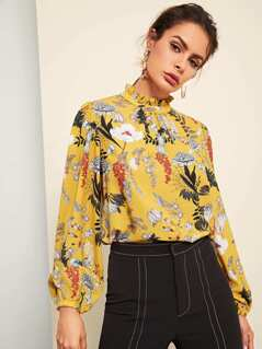 Frilled Neck Botanical Print Top