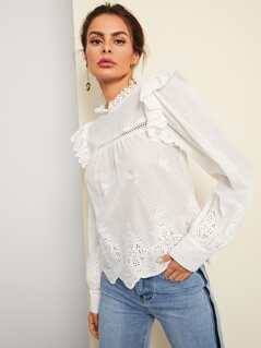 Pompom Embellished Eyelet Embroidered Top