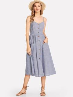 Button Up Pocket Front Pinstripe Cami Dress
