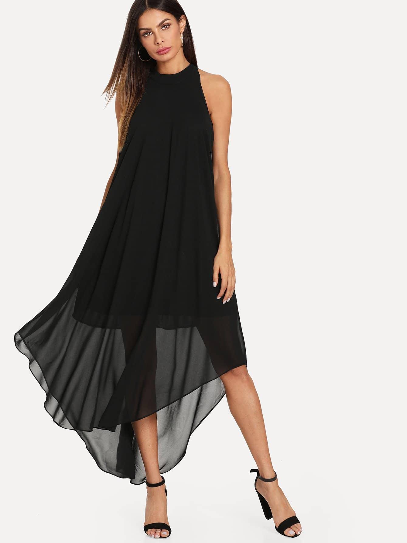 Купить Изогнутое Hem Swing Halter Dress, Andy, SheIn