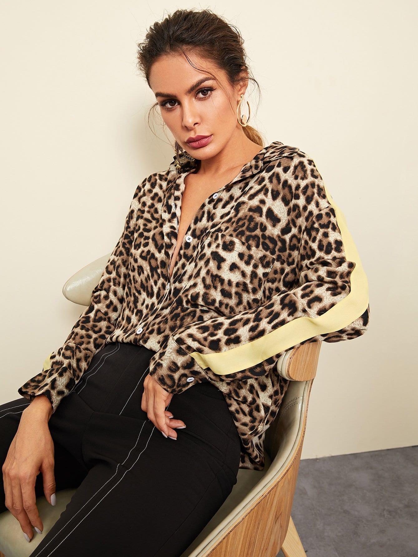 Карманная рубашка с одним карманным леопардом, Andy, SheIn  - купить со скидкой
