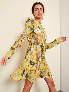 Frill Trim Botanical Dress