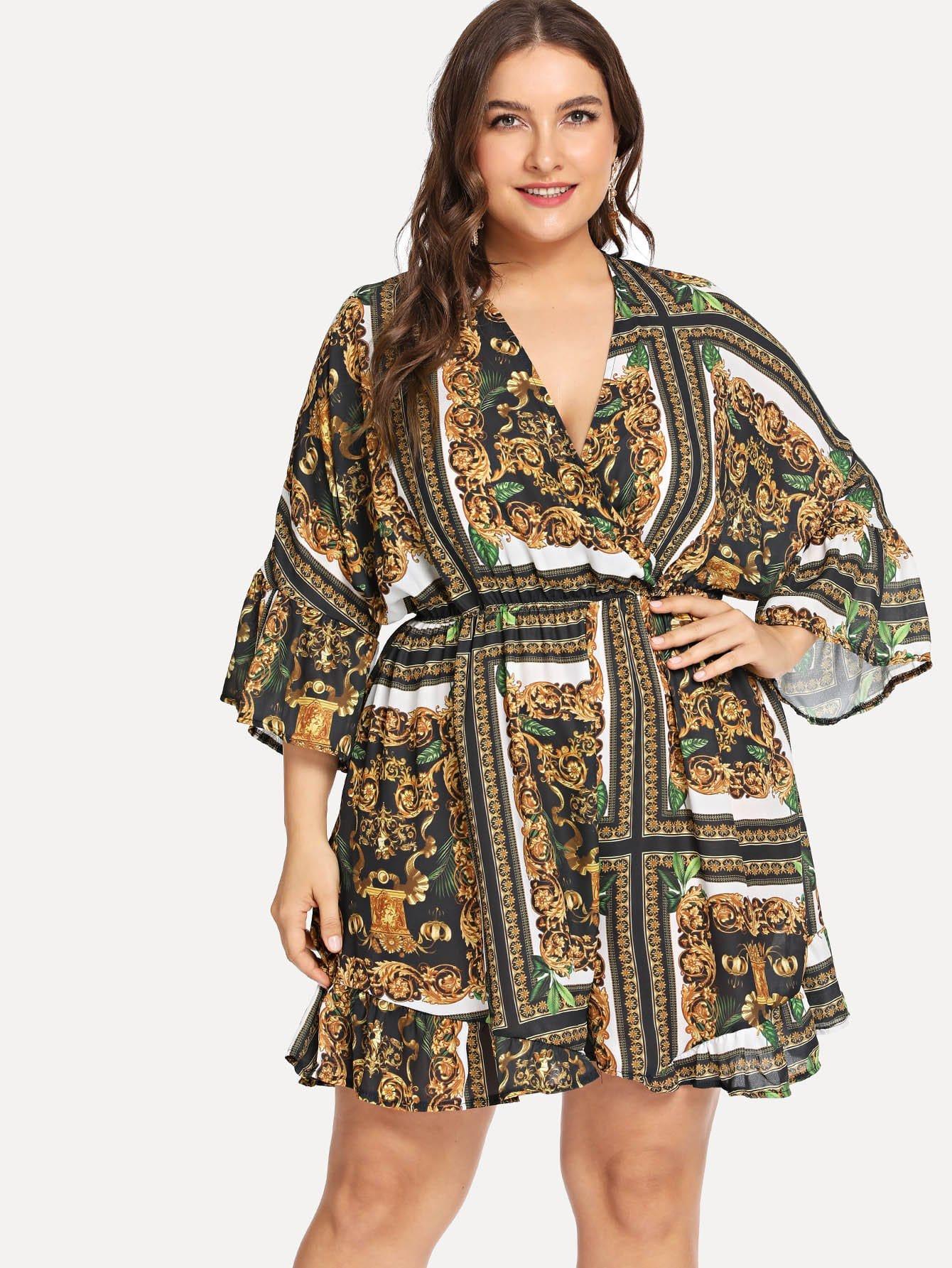 Купить Wrap Bell Sleeve Vintage Цветочный комбинезон, Franziska, SheIn