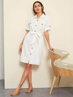 Rolled Tab Sleeve Pocket Front Shirt Dress