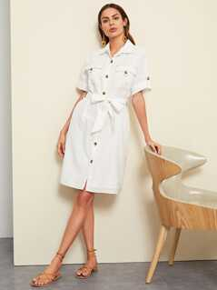Rolled Tab Sleeve Pocket Front Utility Shirt Dress