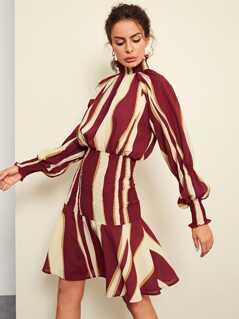 Mock Neck Bishop Sleeve Striped Dress