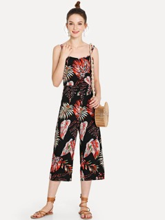 Leaf Print Wide Leg Jumpsuit with Double Strap