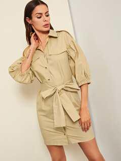 Button & Pocket Puff Sleeve Dress