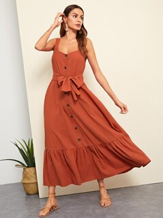 Button Front Ruffle Hem Dress