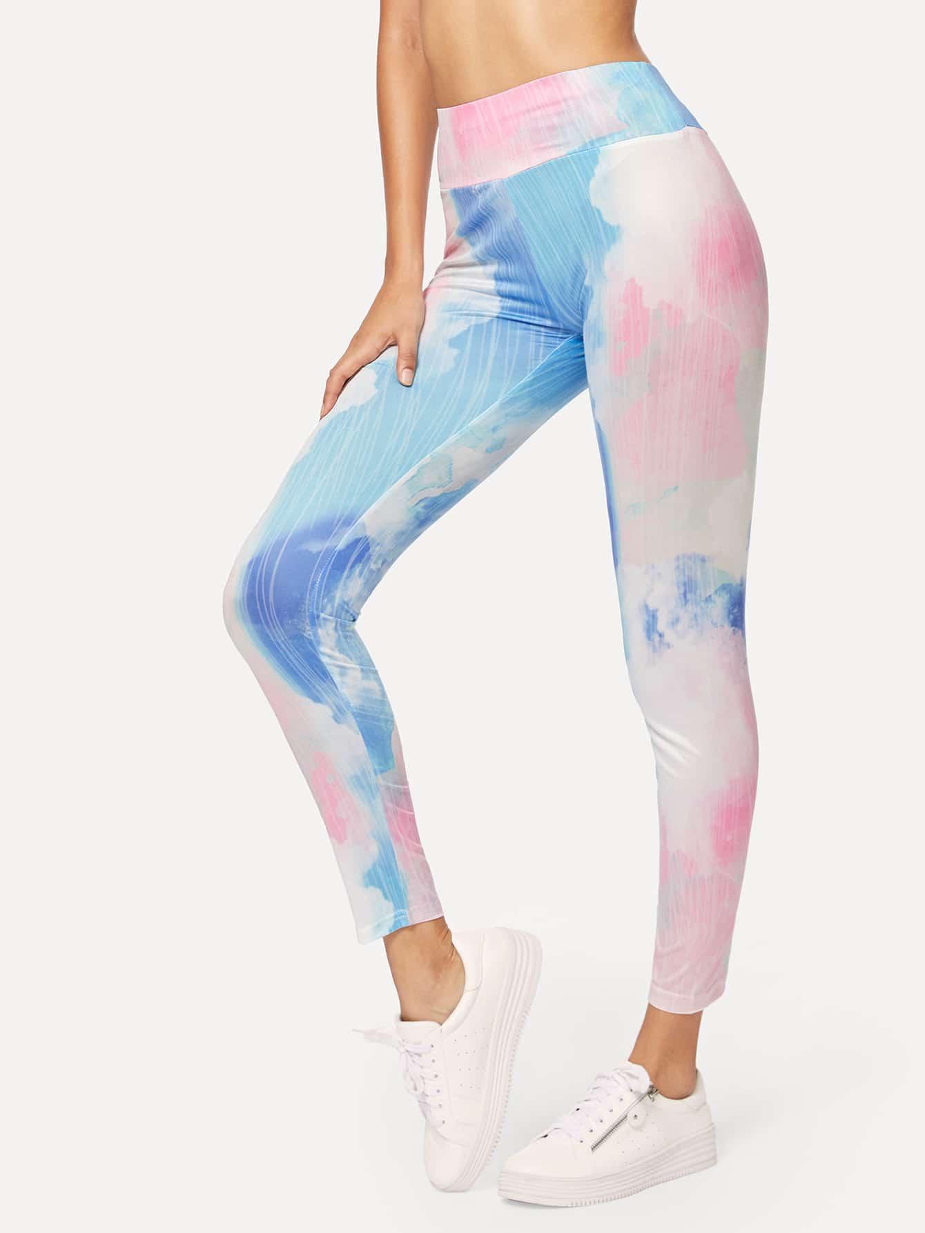 Wide Waist Tie Dye Leggings ink pattern tie dye yoga leggings