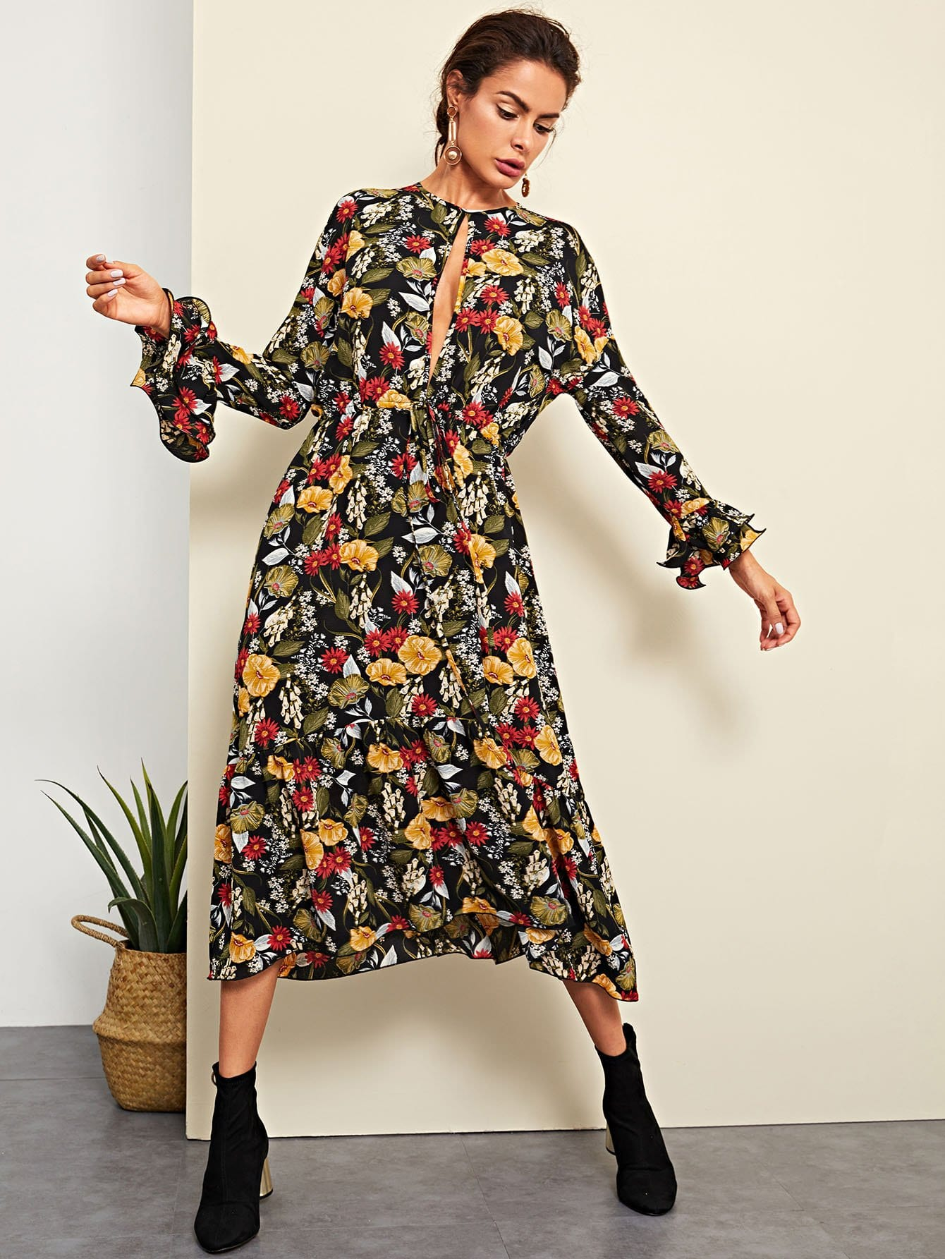 Open Front Bell Sleeve Floral Dress bohemian bell sleeve floral midi dress