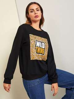 Letter and Leopard Print Sweatshirt