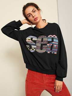 Letter Embroidered Applique Sweatshirt