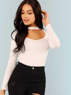 Cutout Front Stand Neck Tee