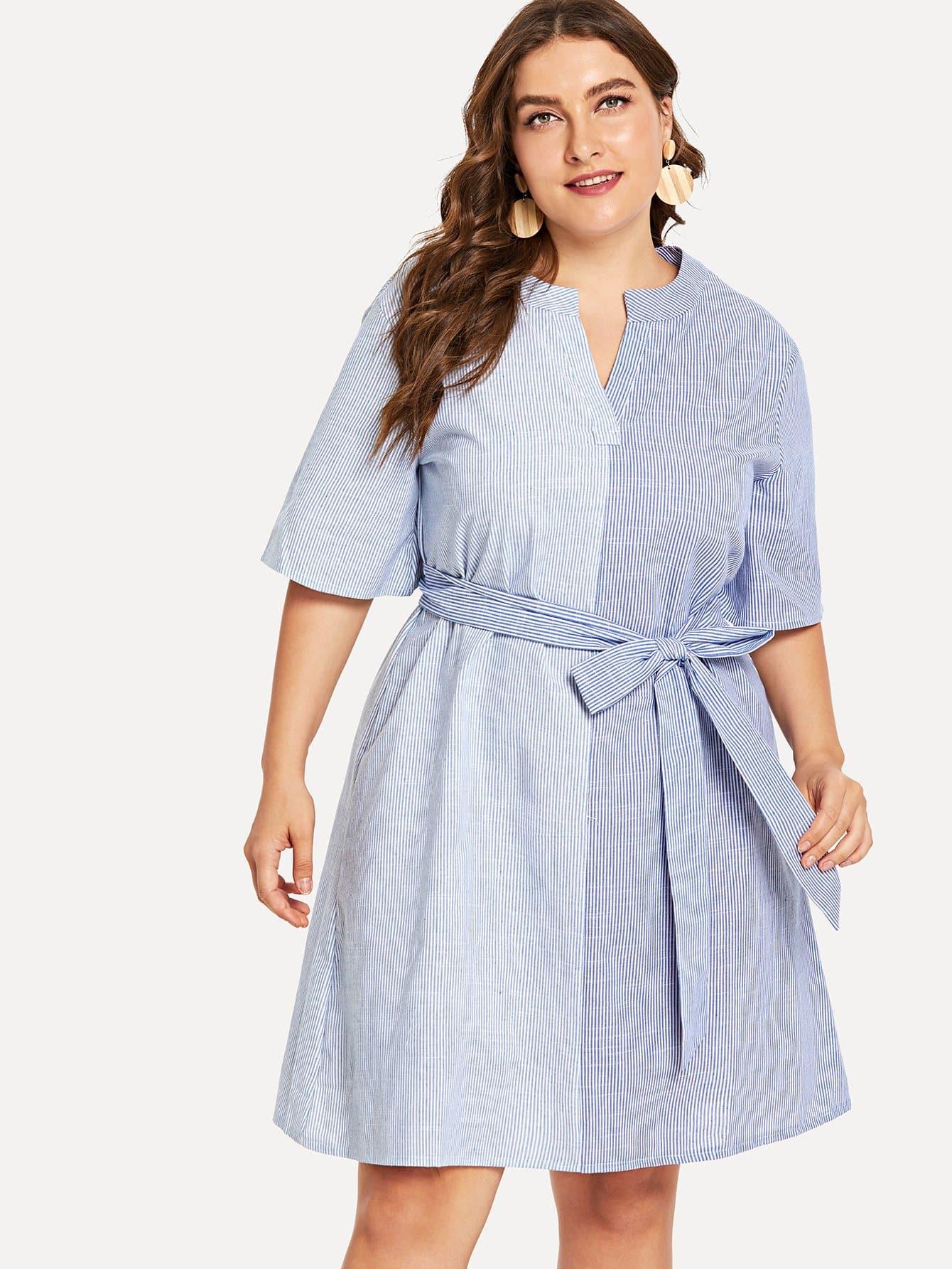 Купить Большое полосатое платье с V-образным вырезом и с поясом, Franziska, SheIn