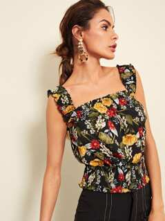 Botanical Print Shirred Panel Top with Frill Strap