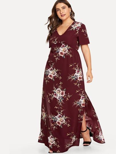 Romwe / Plus Floral Print V Neck Dress