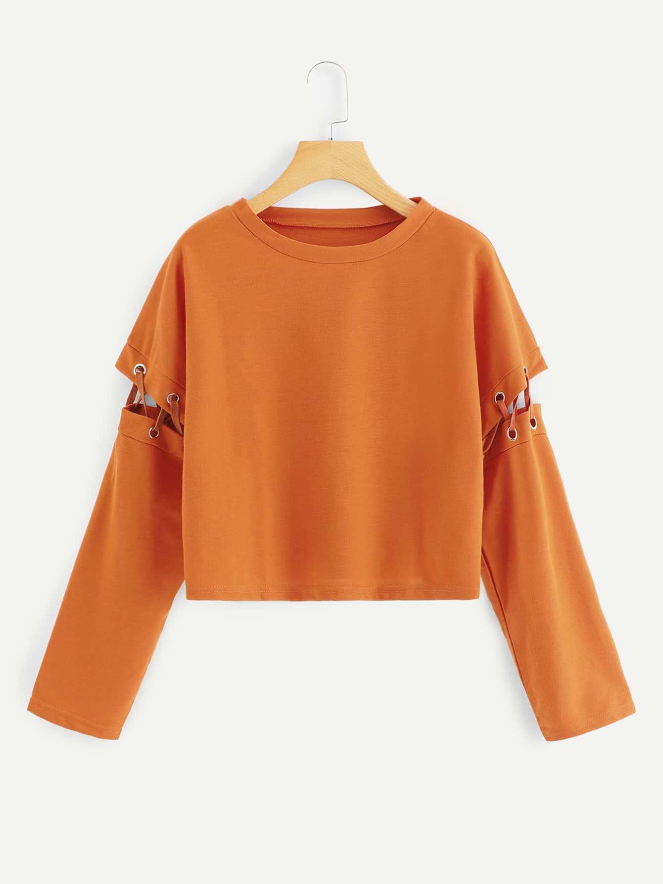 Купить Большая простая спортивная футболка с кружевными оборками, null, SheIn